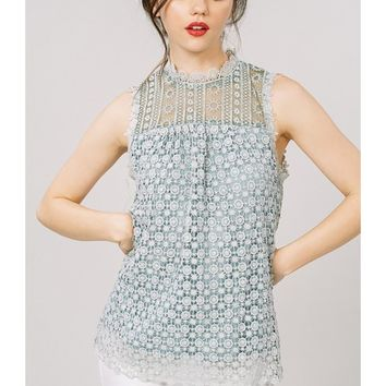 Women Lace Sleeveless Mandarin Collar Blouse