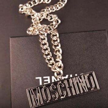 MOSCHINO Fashion Letters Metal Coarse Neck Chain Waist Chain Waist Belt Silver