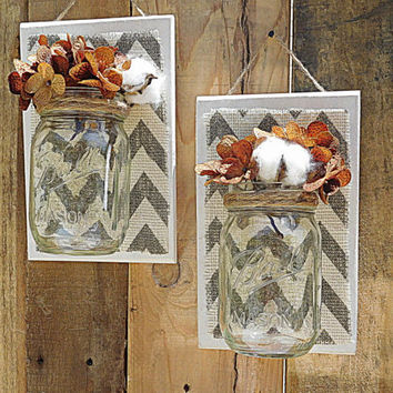 Mason Jar Wall Decor, Chevron, wall hanging, bathroom decor, country decor, farmhouse decor, rustic chabby chic