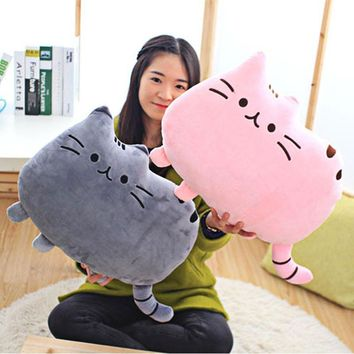 Cartoon Cat Plush Doll Back Cushion Lumbar Decorative Throw Pillow Smiley Face Seat Cushion Stuffed Kids Room Decoration D3