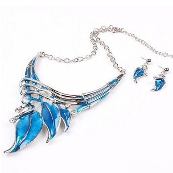 Lake Blue Leaf Lariat Y-Necklace Chain Necklace/Earrings Jewelry Set