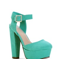 Sale- Aqua Lady-like Faux Suede Heels