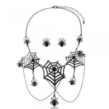 Black Tone Rhinestone Spider Halloween Necklace Earrings 2-Pc Set #s171