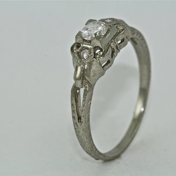 14kt White Gold and Diamond Art Deco Design Hand Engraved Engagement Ring with .23ct White Sapphire Center