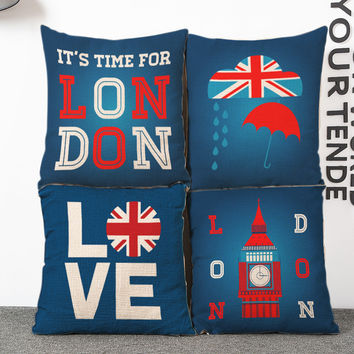 It's Time for London Travel Theme Soothing Blue Cushion Covers for Home Décor