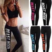 Emei Sexy Women Beast Mode Letter Print Casual Cotton Leggings Stretch Pants = 5616978241