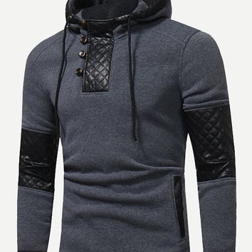 Men Contrast Faux Leather Hoodie