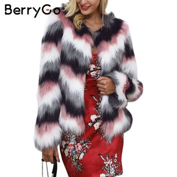 BerryGo Pink color mixing faux fur coat women Fluffy warm female outerwear 2017 winter coat jacket long sleeve hairy overcoat