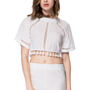 White Backless Blouse and High-Waist Shorts