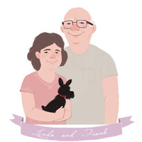 Custom Couple Portrait, 8.5 x 11 print, Pet Portrait, With or without Pets, Anniversary, Birthday, Wedding - Affordable Artwork