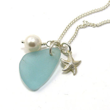 Powder Blue Sea Glass, Sterling Silver Starfish and Swarovski Pearl Necklace, Beach Necklace, Sea Glass Necklace