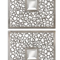 Colusa Squares Silver Mirror, Set of 2 by Uttermost