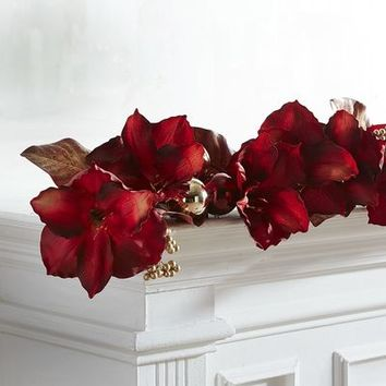 Faux Amaryllis & Magnolia Leaves 6' Garland