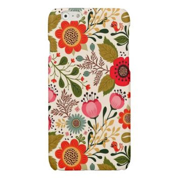 Antique Stylish Vintage Spring Floral Pattern Glossy iPhone 6 Case
