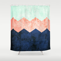 triple chevron (2) Shower Curtain by dani