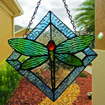 Dragonfly Stained Glass Sun Catcher/ Light Catcher  ~ Dragonfly Garden Art ~  Dragonfly Lawn Ornament ~ 9.5 X 9.5 Inches