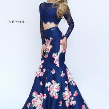 Sherri Hill Navy Two Piece Mermaid Dress 50488