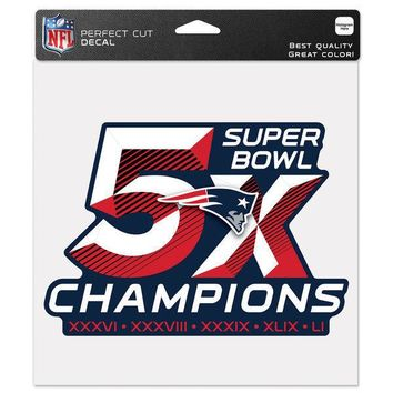 """NEW ENGLAND PATRIOTS 5X CHAMPIONS 8""""X8"""" COLOR DIE CUT DECAL BRAND NEW WINCRAFT"""
