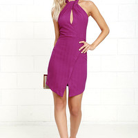 Dance All Night Magenta Halter Dress