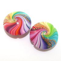 Polymer Clay beads in rainbow colors, unique pattern, colorful swirl lentil beads with touches of gold, set of 2 Elegant beads