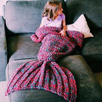 Wool Knitted Mermaid Tail Blanket (children)