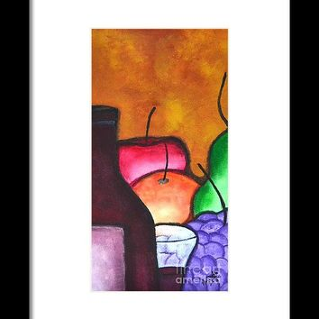 Fruits And Wine Still Life Painting By Saribelle Framed Print