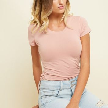 Pink Crew Neck Fitted Tee