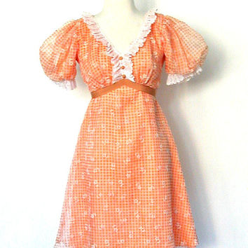 60s Gingham Mini Dress / 1960s dress / boho floral dress / sundress / empire waist / babydoll / short peach dress / xs small