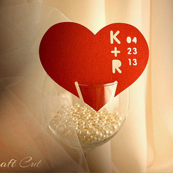 Summer wedding place cards | Modern place card | Simple place cards | Paper cutouts | Red heart place card | Custom initials and date