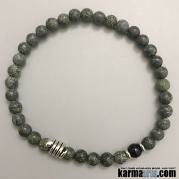 WELL BEING: Russian Serpentine | Black Obsidian | Snake | Yoga Chakra Bracelet