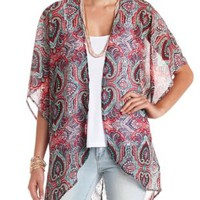 Sheer Lace-Back Paisley Print Kimono Top - Blue Combo