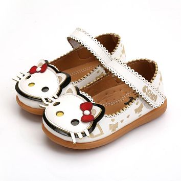 KINE PANDA Children Shoes Girls Flats Hello Kitty Baby Shoes PU Leather Little Kids Shoes for Girl Soft Toddler Girls Shoes
