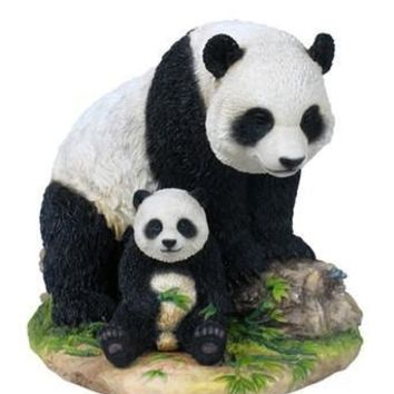 Mother Panda with Baby Cub Statue - 8337