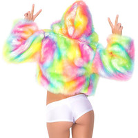 J. Valentine Light Up Tie Dye Cropped Fur Jacket