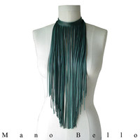 Forest Leather Fringe Bib Necklace or Scarf, Long fringe Necklace, Dark Green Lambskin Leather, custom order
