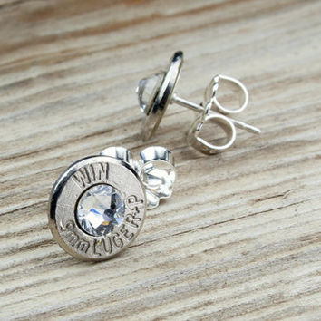 Classy, Dainty Winchester .9mm Nickel Bullet Head Stud Earrings with Swarovski Crystals
