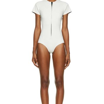 Lisa Marie Fernandez White Short Sleeve Farrah Swimsuit