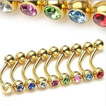 1Piece 1.2x8x3mm Stainless Steel Eyebrow Ring Gold Color Crystal Gem Eye Rings Body Piercing Jewelry