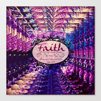 FAITH Colorful Purple Christian Luke Bible Verse Inspiration Believe Floral Modern Typography Art Canvas Print by The Faithful Canvas