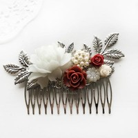 Delilah - Burgundy Red Wedding Hair Comb