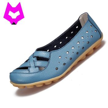 2017 Fashion Genuine Leather Breathable Casual Loafers Shoes Women Sandals Summer Shoe