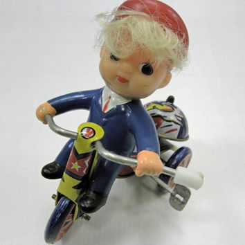 Vintage Tin Toy Little boy on a Tricycle, From Korea Mechancial Wind up rings a bell and rides in a circle