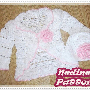 Crochet baby cardigan pattern, crochet beanie pattern, ruffled cardigan, crochet beanie pattern, 0-4 years sizes, How to make baby cardigan