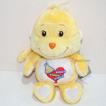 """Licensed cool 2002 8"""" PLAYFUL HEART MONKEY YELLOW Care Bears Cousins Plush Bean Bag Toy 20th"""