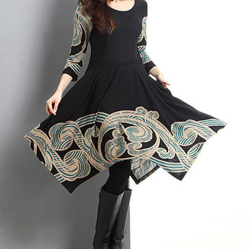 Reborn Collection Black & Teal Cloud Handkerchief Fit & Flare Dress | zulily