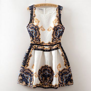 Fashion retro print dress