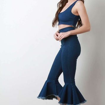 Two Piece Denim Jeans Crop Top with Frayed Bell Bottom Pants Set