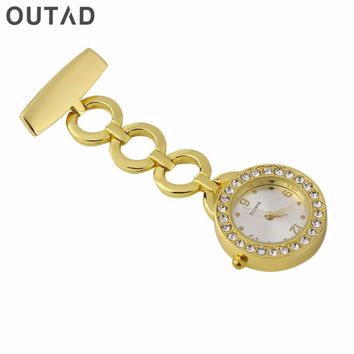 OUTAD Nurse Noctilucent Watch Pocket Watch Stainless Steel Diamond Dail Ring Bracelet Needle Chest Quartz Watch With Portable