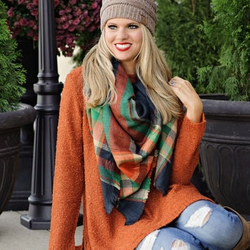 * Paloma Soft Knit Wide-Neck Sweater with Side Splits : Rust
