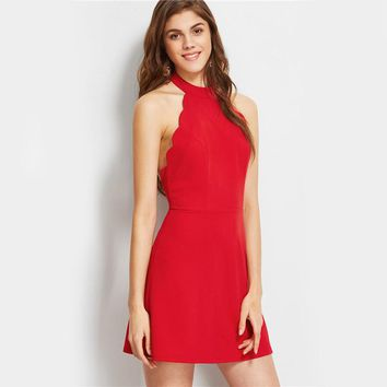 Summer A Line Mini Dress Ladies Red Halter Neck Backless Scallop Skater Dress